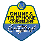 Online Telephone Counselling certified counsellor badge